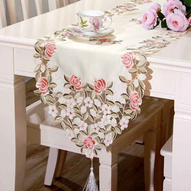 Yazi Embroidered Begonia Flower Cutwork Fabric Wedding Party Table Runner Tablecloth Dresser Scarf 40x175cm