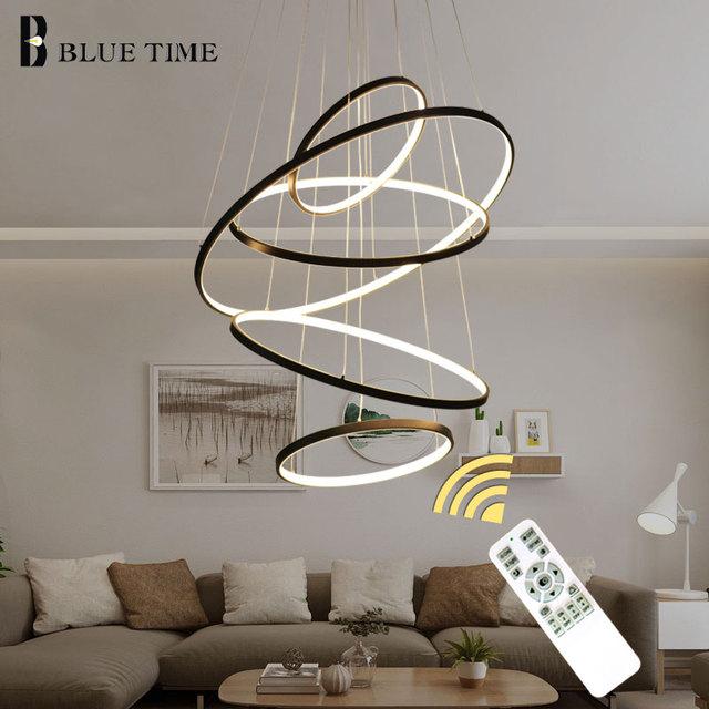 Nowoczesne LED żyrandol pierścienie Circle montowane sufitowe LED żyrandol oświetlenie do salonu jadalnia kuchnia czarny & biały & złoto