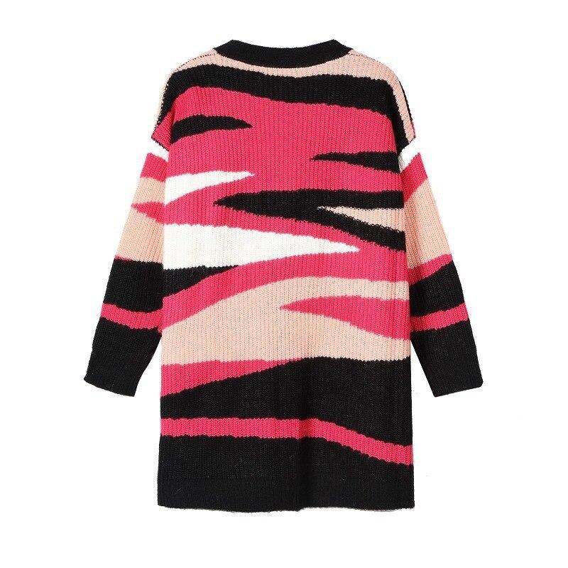 Suave Mujeres Leopardo Chaqueta Nuevo Acogedor Con Suéteres Rojo Otoño Suéter 2019 Abrigo Mohair De Chaquetas Primavera Bolsillos Punto Única fBqX0Bx8