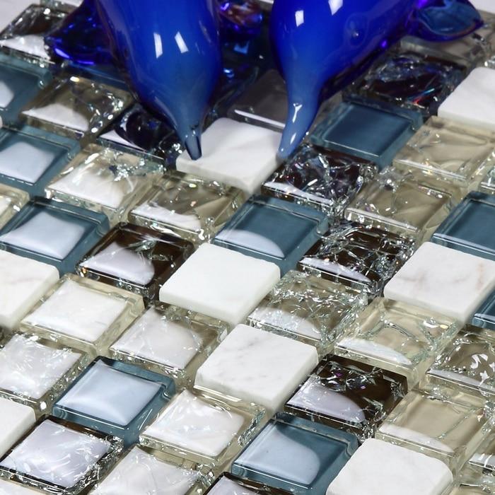 blue glass mixed gray glass and white <font><b>stone</b></font> mosaic tiles resin mosaic kitchen <font><b>backsplash</b></font> tile bathroom shower fireplace hallway