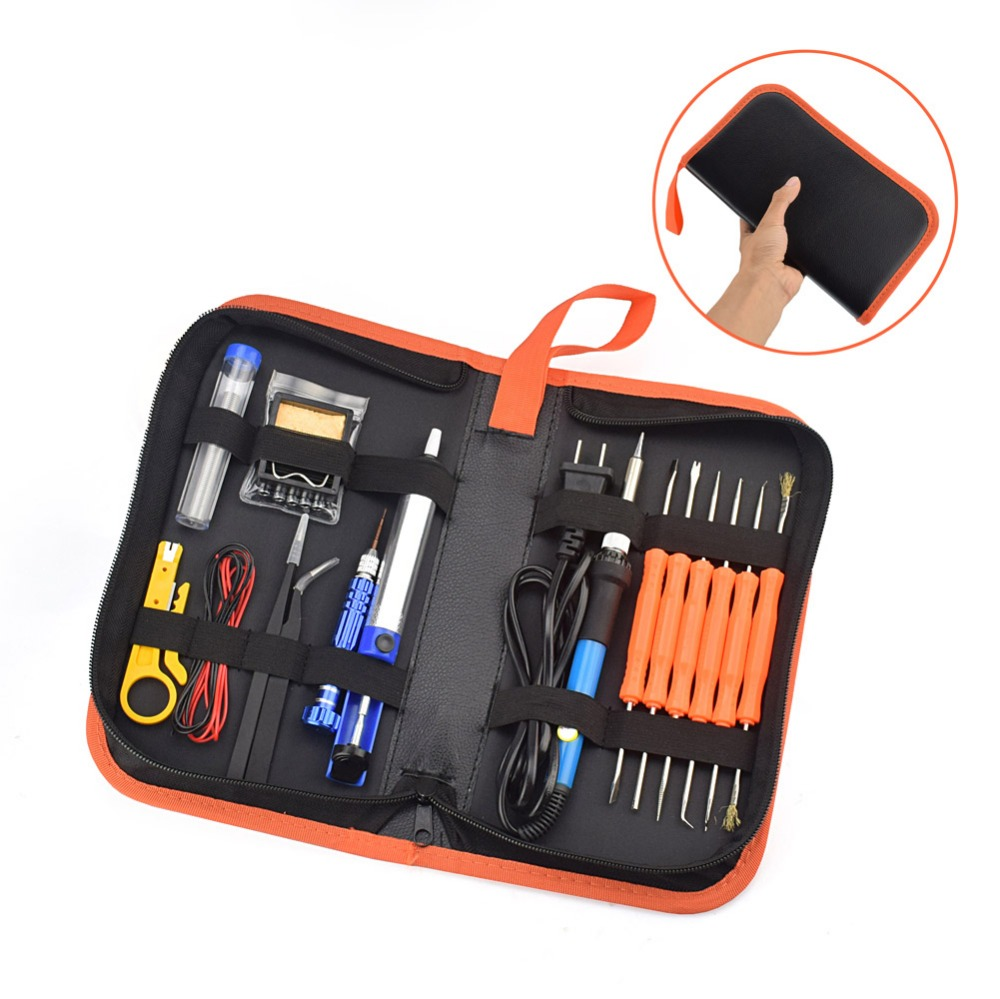 Toolour EU/US Plug 60W Electrical Soldering Iron Kit Adjustable Temperature Welding Repair Tool 5pcs Iron Tips Tweezers with Bag