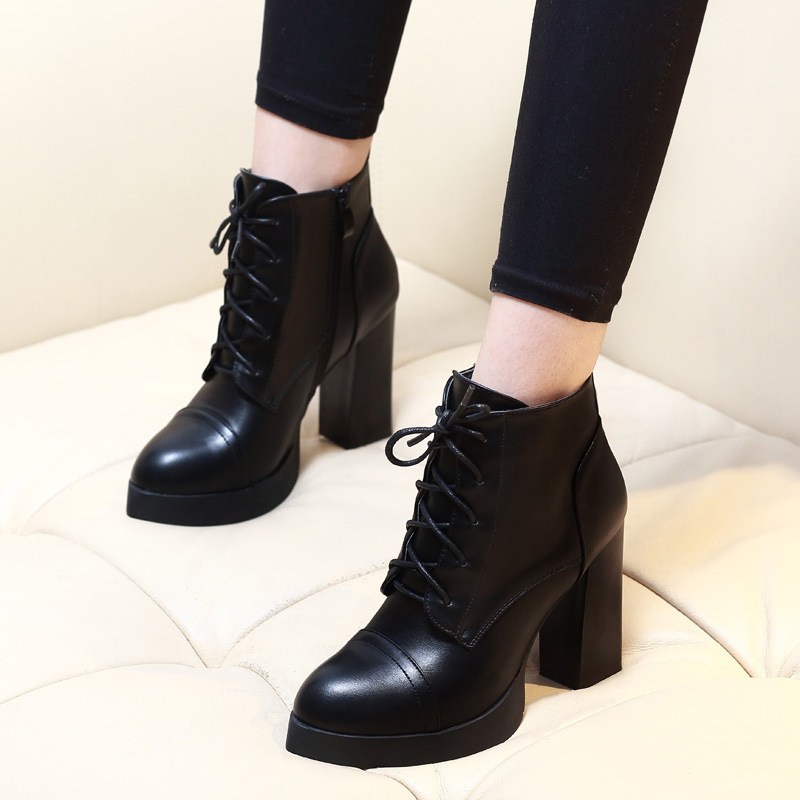 Autumn Winter Women Short Boots Korean Sheepskin Leather Square Heel Round Toe Thick Bottom Ankle Boots Shoes Female CH-A0003 hot sale autumn winter shoes round toe fashion ankle women boots sheepskin all match square high heel