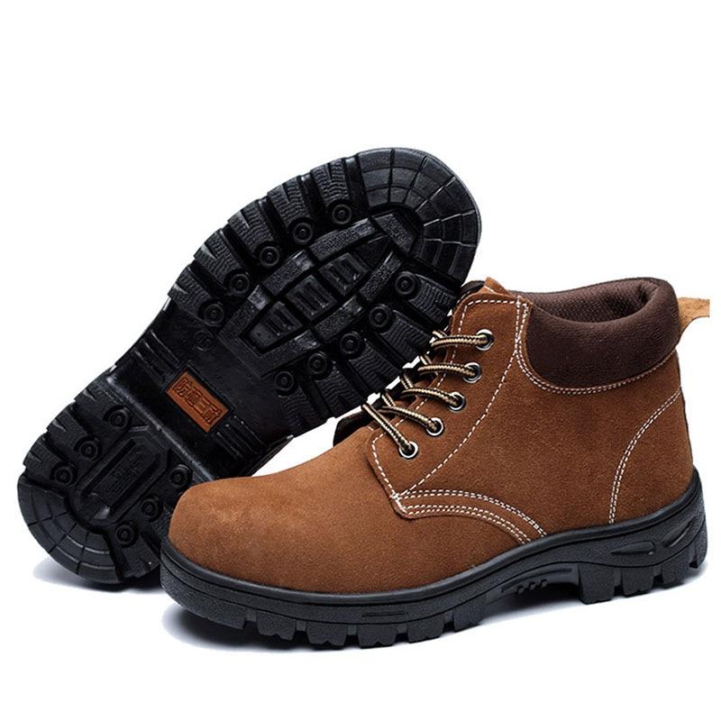 Pour 2019 De Travail Hommes Cheville Combat Brown Armée Au En Vintage Cuir Indestructible Chelsea Sécurité New Chaussures Bottes Véritable N0mn8w