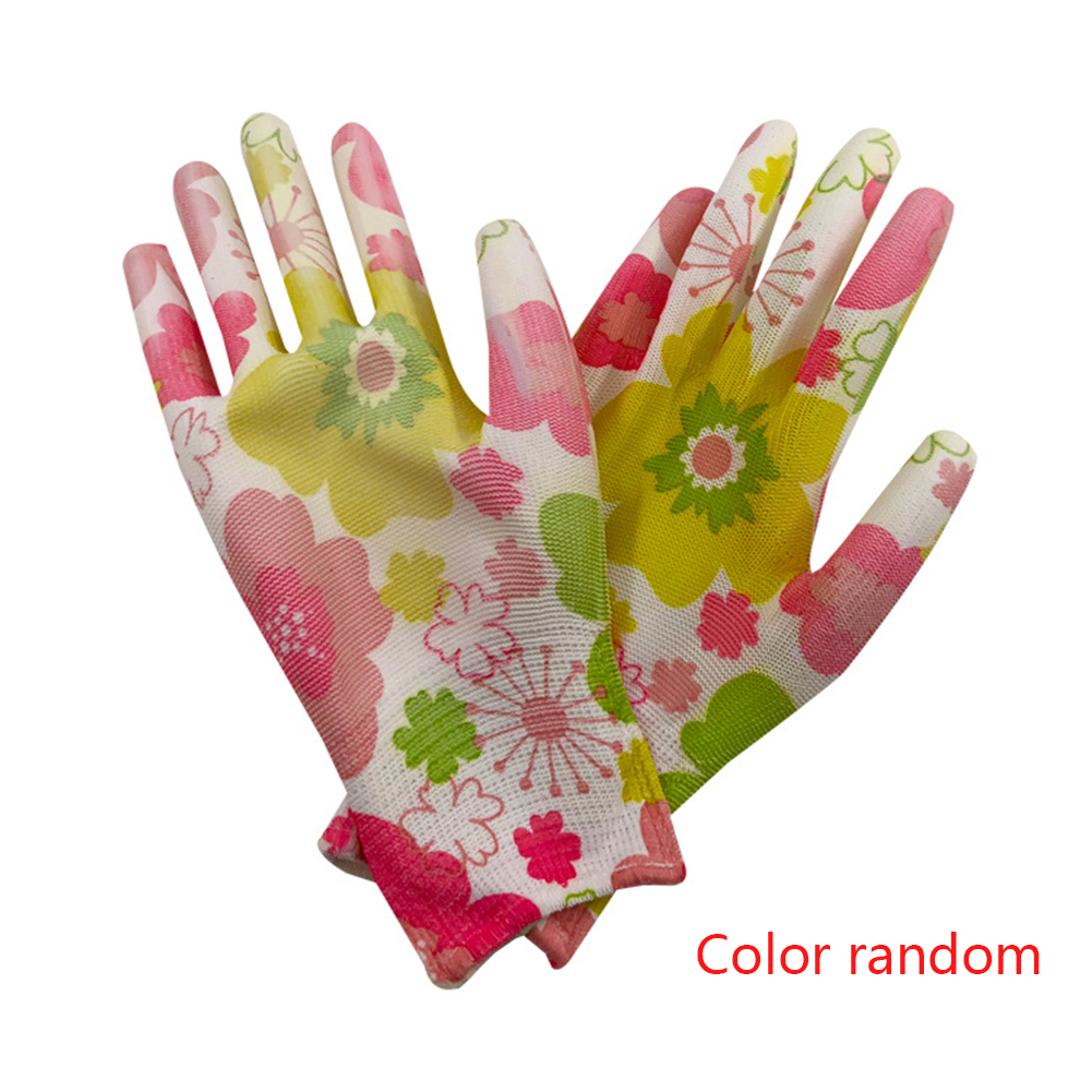 Women Wear Resistant Gardening Waterproof Floral PU Hands Protection Durable Working Gloves Anti-Static Non-Slip