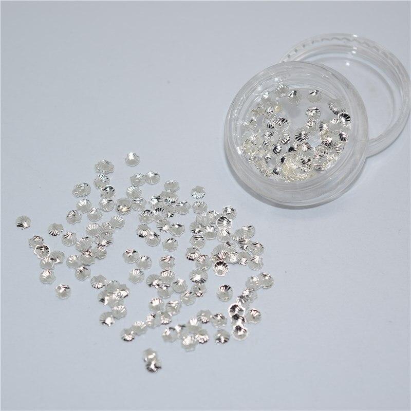 ᗖ500psc mezcla de brillo de aleación 3D plata Conchas Clavos arte ...