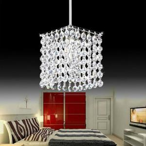 Modern simple iron crystal chandelier led lamp high quality LED lighting crystal chandeliers led E27 lustre pendant/droplight(China)