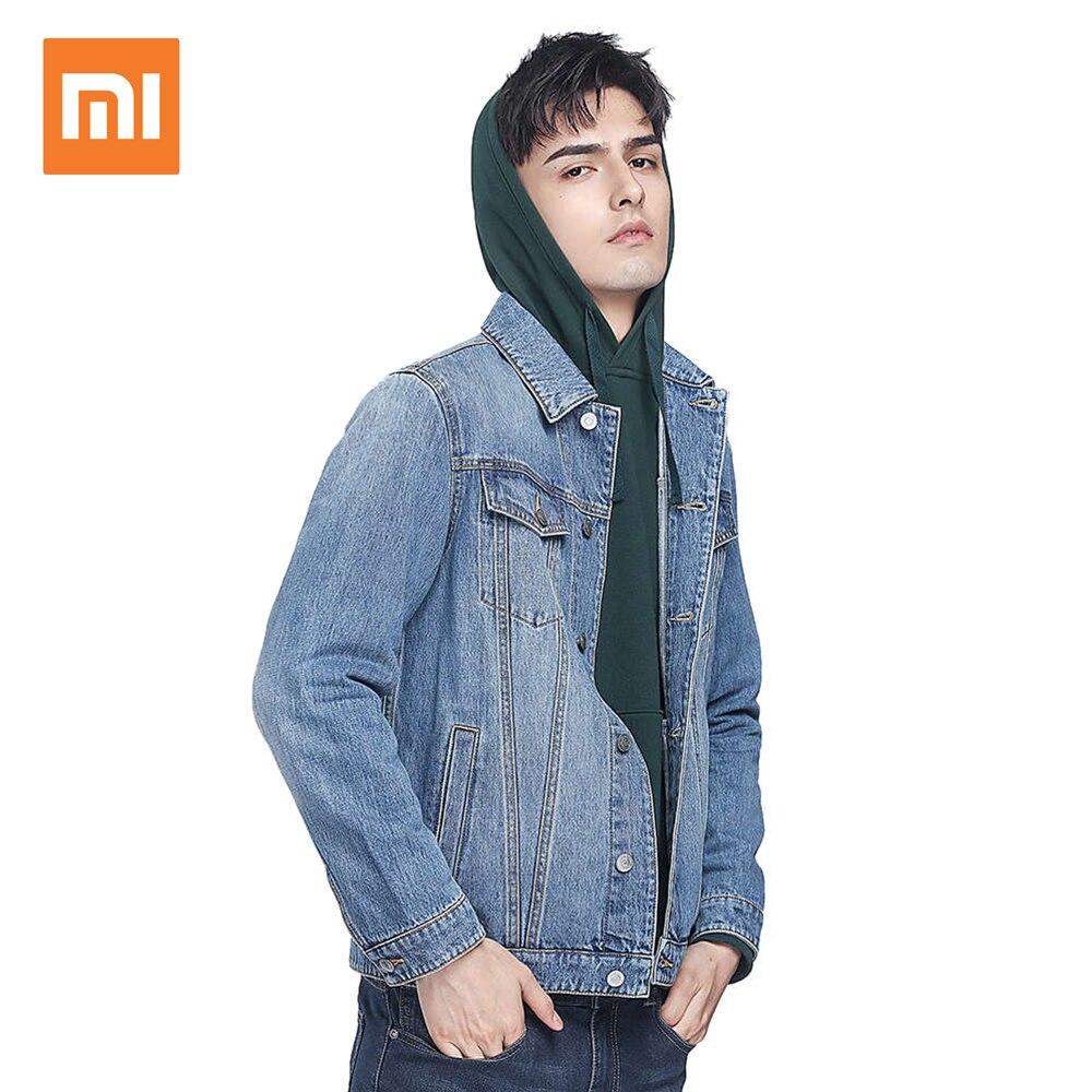 Xiaomi COTTONSMITH Stylish Denim Jacket 100% Cotton Fashion Lapel Cotton Denim Jacket Coat notch lapel faded wash denim jacket