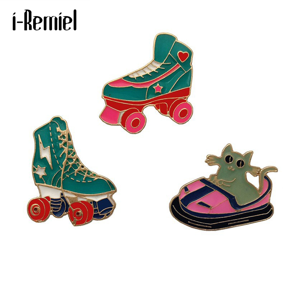 i-Remiel Personality wild roller skates bumper car Enamel brooch micro chapter jewelry Clothes shirt Badge for girls boys