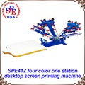 SPE41Z Cuatro Colores Una Estación Sola Rueda Máquina de Impresión de Pantalla de Escritorio