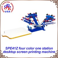 SPE41Z Four Color One Station Single Wheel Desktop Screen Printing Machine