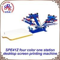 SPE41Z Four Color One Station Single Wheel Desktop Screen Printing Machine