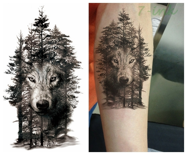 85609a241 25 design Waterproof Temporary Tattoo Sticker color forest wolf Water  Transfer Fake Flash Tatoo Large Size