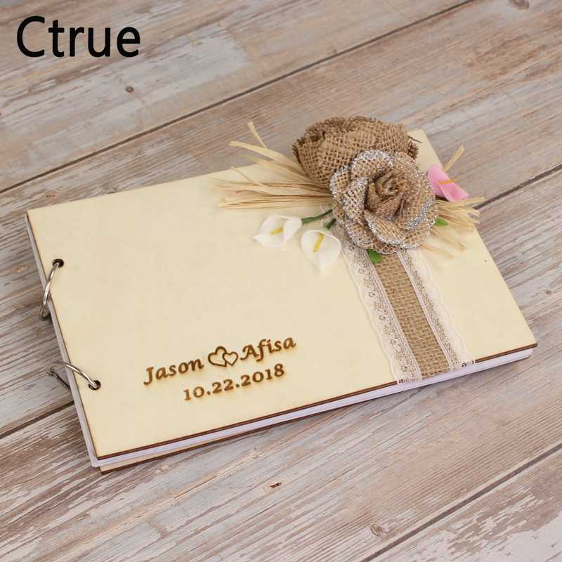 Wooden Personalized Wedding Guest Book Wedding Guestbook Custom Name Sign Book Rustic Wedding Decoration  photo Album