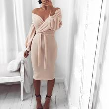 2019 Summer Women Elegant Solid Casual Bodycon Dress Female Plain Slim Fit Off Shoulder Twisted Waist Tie Sexy Midi Dress off shoulder tie waist dress