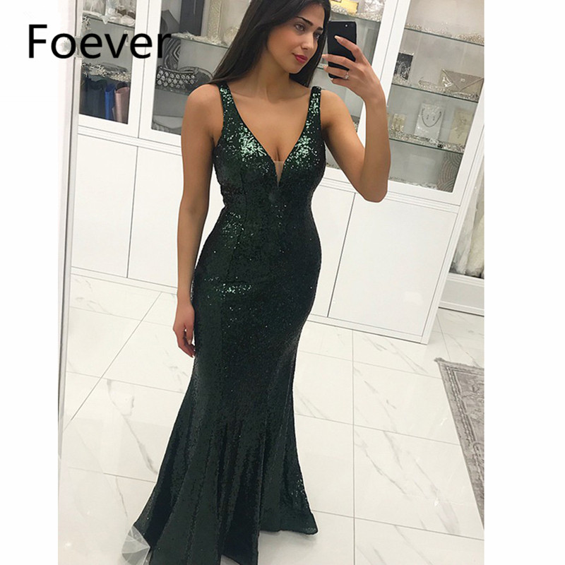 2019 Teal Mermaid   Evening     Dresses   Long with Sequined V-Neck Backless Sweep Train Prom   Dress   Sweep Train Formal   Evening     Dress