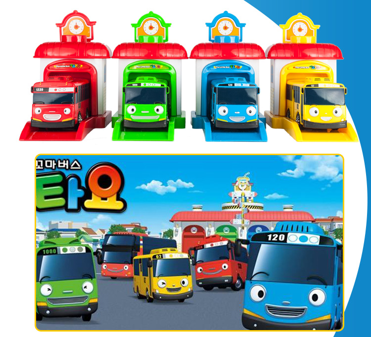 4pcs/set Scale model tayo the little bus children miniature bus plastic baby oyuncak garage tayo bus kids toys Christmas gift