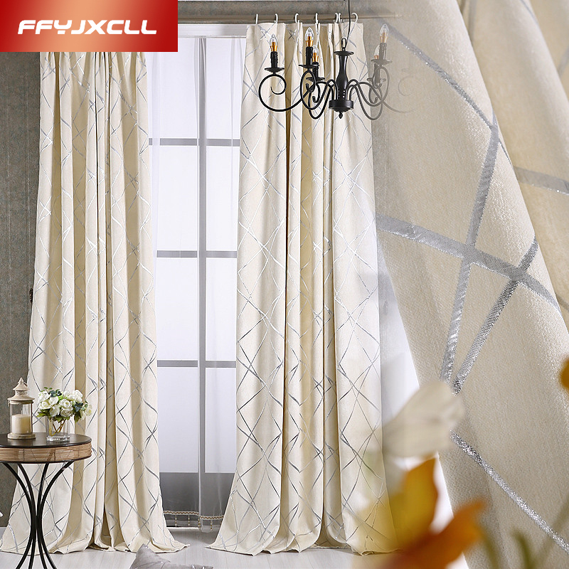 Modern Geometric Embroidered Curtains For Living Room/ Bedroom Blackout Curtains Window Treatment /drapes Home Decor Tulle