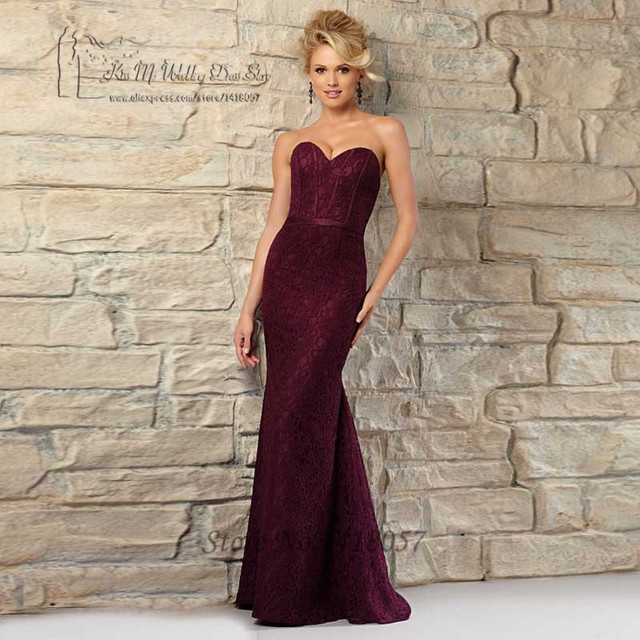 Burgundy Navy Blue Mermaid Bridesmaid Dress Lace Vestido de Festa de  Casamento 2016 Long Wedding Party Dresses Sexy Maid 9df6a1cb78cb