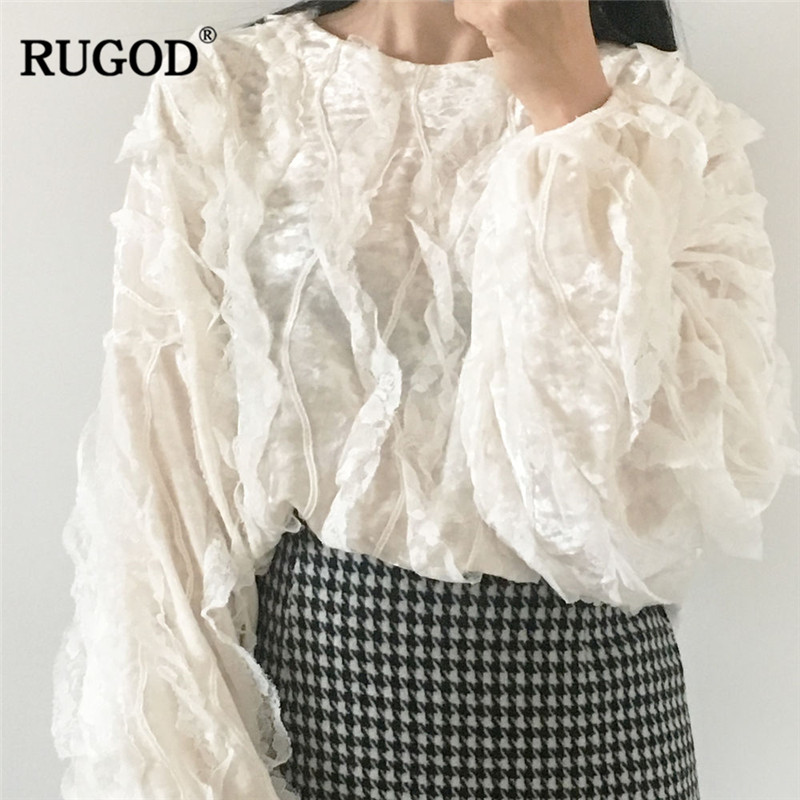 Hearty Rugod Elegant Lace Patchwork Shirts Women Ruffles Round Neck White Blouses Female Korean Style Spring Blouses Plus Size Top Women's Clothing