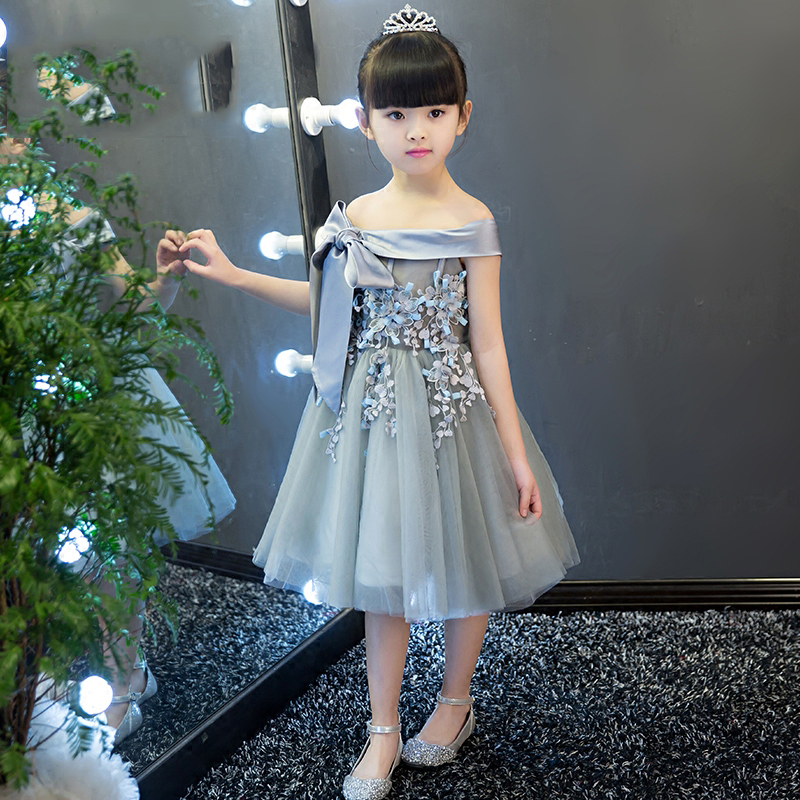 Shoulderless Elegant Embroidery Kids Party Dresses Summer 2017 New Knee-Length Kids Girls Dress Toddler Girls Clothes QX199 korean children dress girls summer 2015 new short sleeved knee length kids clothes princess pure grey ruched dresses page 2