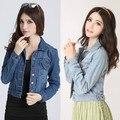 2014 Новая осень Vintage плюс размер тонкий растениеводство топ длинные рукава джинсовой отложным воротником джинсовая куртка мода пальто краткости пиджаки 8645