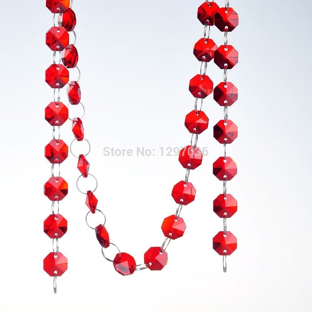 Diy 68 feet length red glass chandelier chain 14mm octagon beads diy 68 feet length red glass chandelier chain 14mm octagon beads chain crystal chandelier part prisms audiocablefo