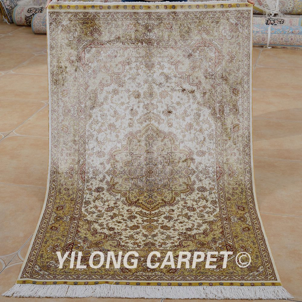 Traditional Kashmir Silk Handmade Hand Knotted Persian: Kashmir Silk Carpet S