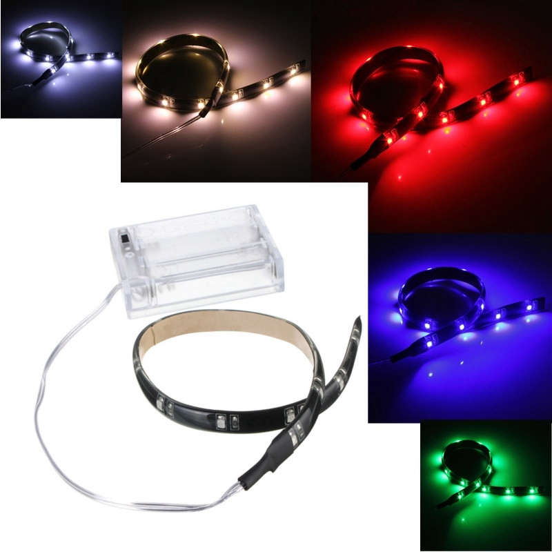 Hot Sale 30CM 12 LED 3528 SMD Waterproof Flexible Strip Tape Light Car Auto Decor Lamp Battery Operated White Red Blue Green