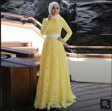 2017 Yellow Lace Long Sleeve Muslim Formal prom Dress 2017 Hijab Islamic Abaya Kaftan High Neck prom gowns for modest women