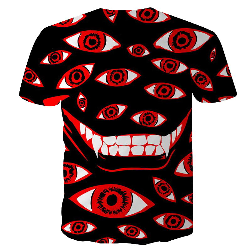 New Men Shirt Fashion Men/women 3d T-shirt Short Sleeve Tees Print Red Eyes And White Teeth Quick Dry Summer Tops Tees