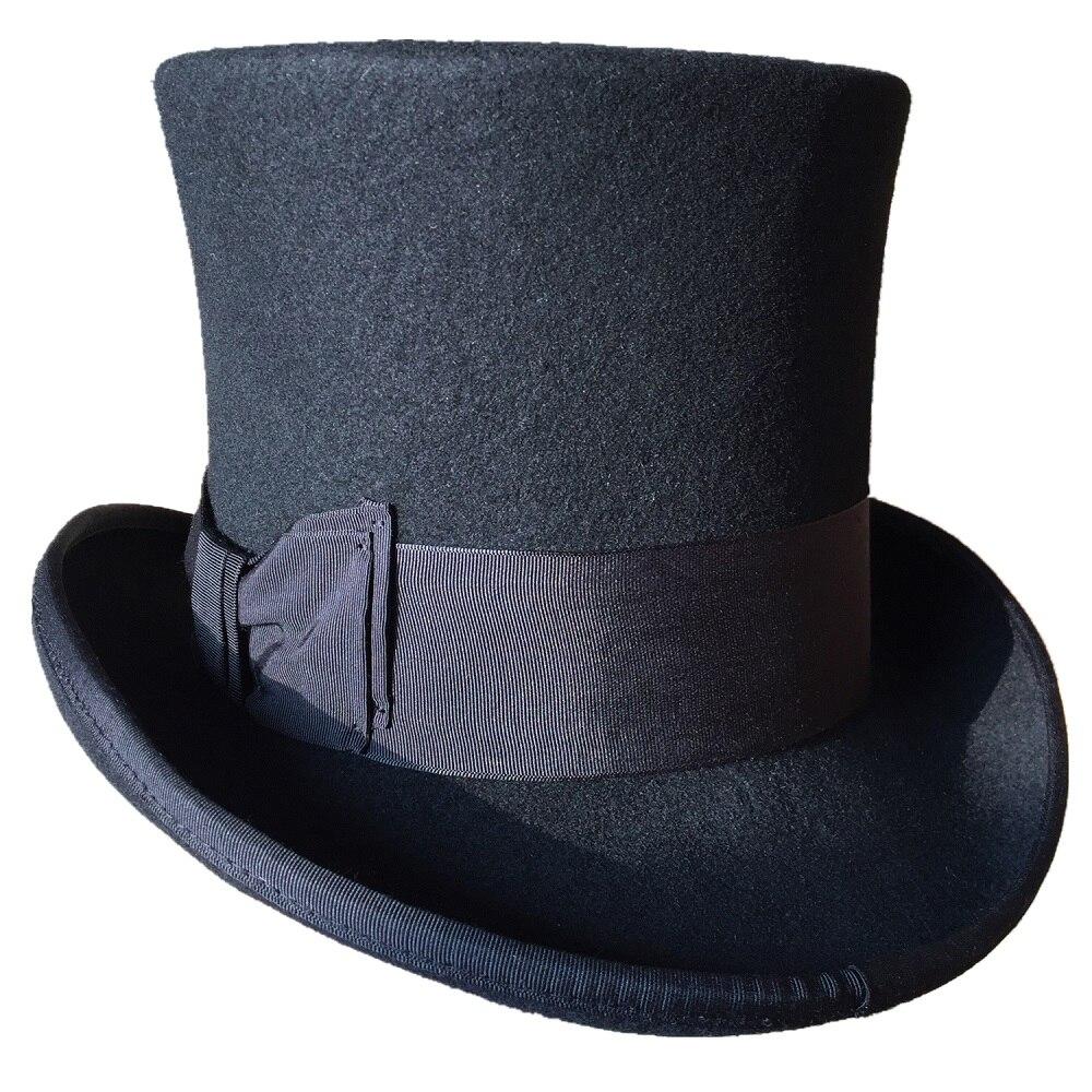 Schwarz Top Hut Wolle Gentleman Steampunk Brautigam Hochzeit High