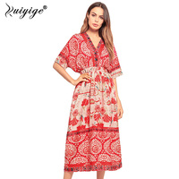 Ruiyige Boho Maxi Summer Dress Women Elastic Casual Beach Long Dress Female Half Sleeve Print Vestido Dress Robe Femme