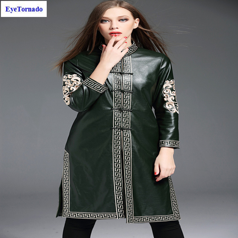 Plus size Women autumn flower embroidery long casual Leather PU trench Stand collar vintage cheongsam chinese style trench coat