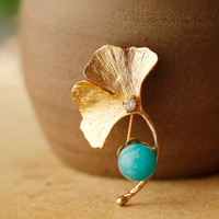 CMAJOR 925 Sterling Silver Jewelry Gold Color Ginkgo Leaf Shaped Brooch with Natural Amazonite Pendants Brooches For Women