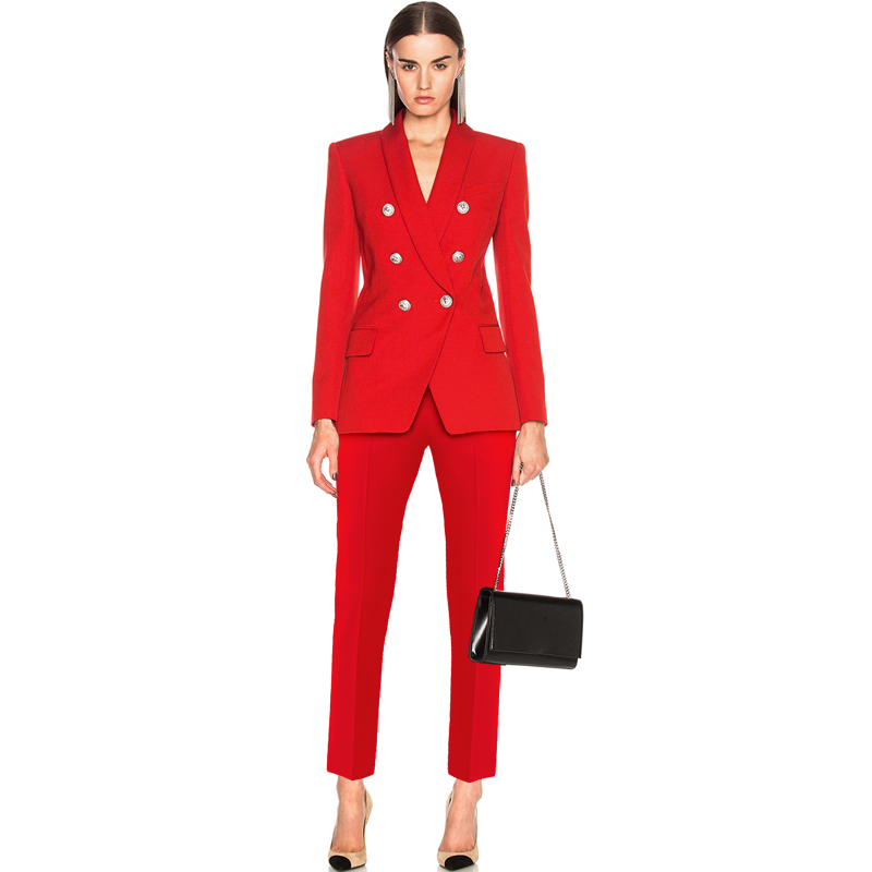 TOP QUALITY Newest 2019 Designer Career Suit Set for Ladies Shawl Collar Lion Buttons Double Breasted Blazer Pants Suit