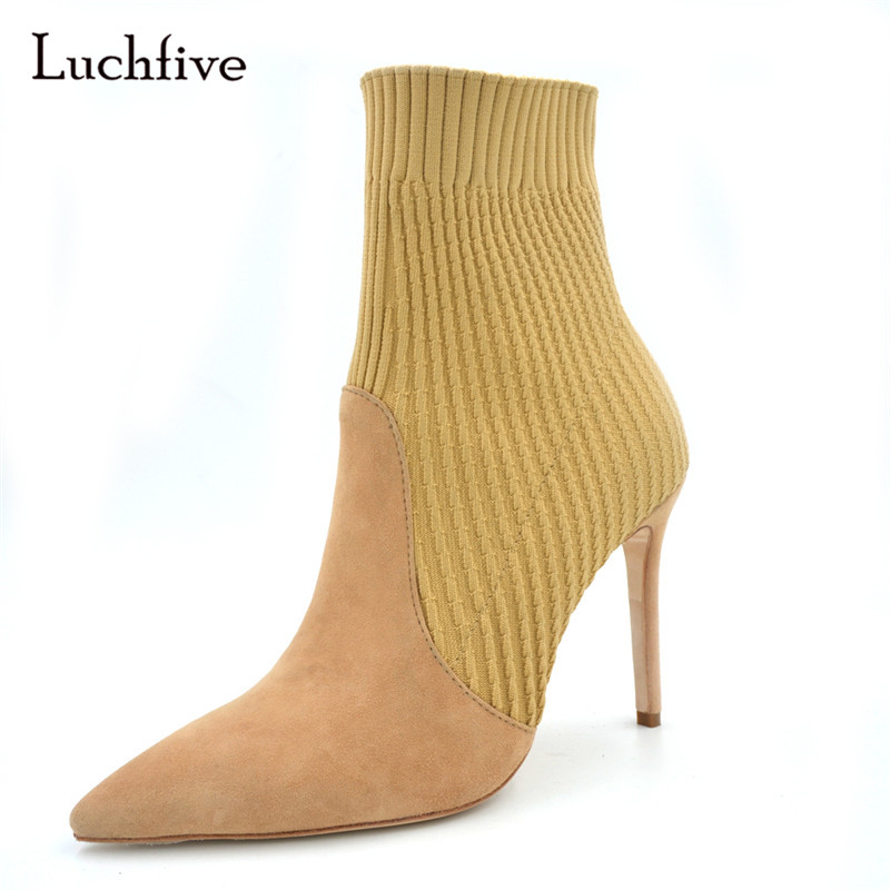 Luchfive Fashion Pointed Toe Wool Knitted Booties For Women Stiletto Heel Ankle Boots Suede Sock Boots Short Botas Mujer fashion pointed toe and stiletto heel design ankle boots for women