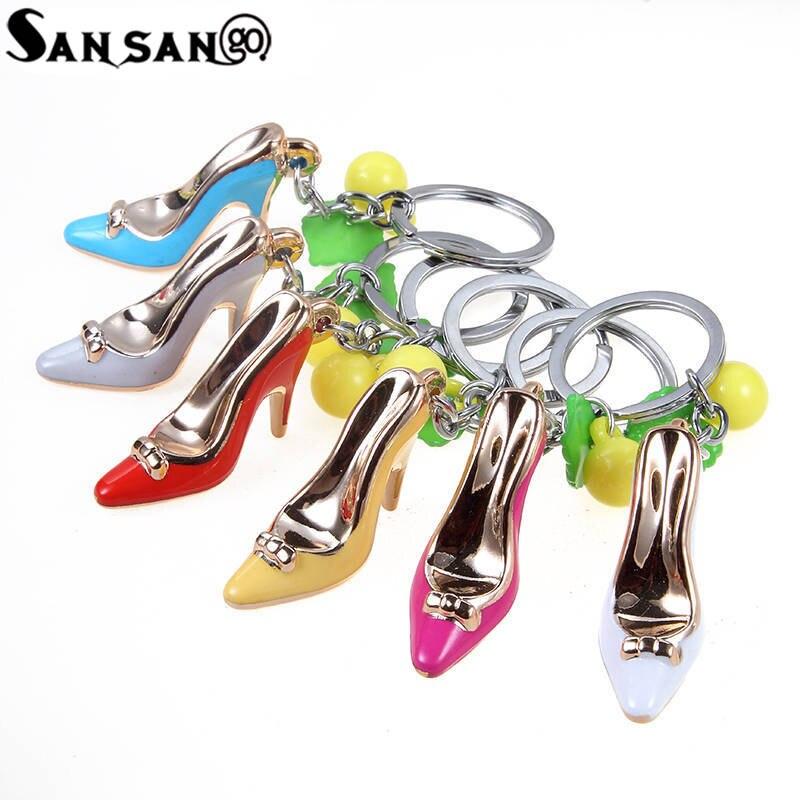 Новые смешанные Цвет Милая обувь на высоком каблуке Талисманы брелок для женщины Обувь для девочек Сумочка автомобиль кулон Интимные аксес...