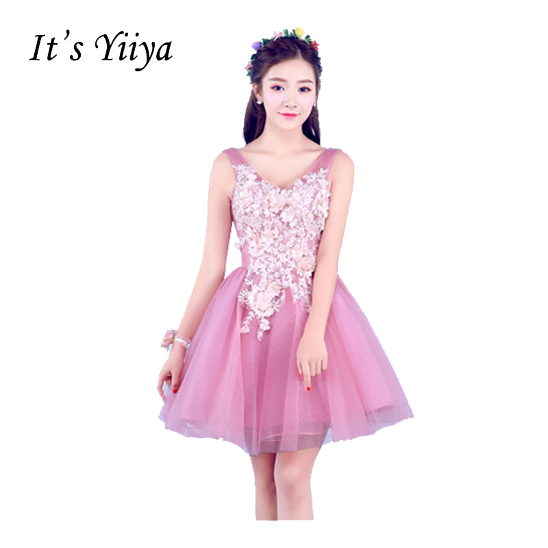 It's Yiiya Pink V-Neck Sleeveless Lace Ball Gown   Cocktail     Dresses   Flower Princess Mini Custom MadeTulle Party Formal DressT-217