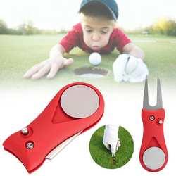 Аксессуары для гольфа красная сталь для гольфа Divot Repair Switchblade Tool Pitch Groove Cleaner Golf Pitchfork Putting Green Fork