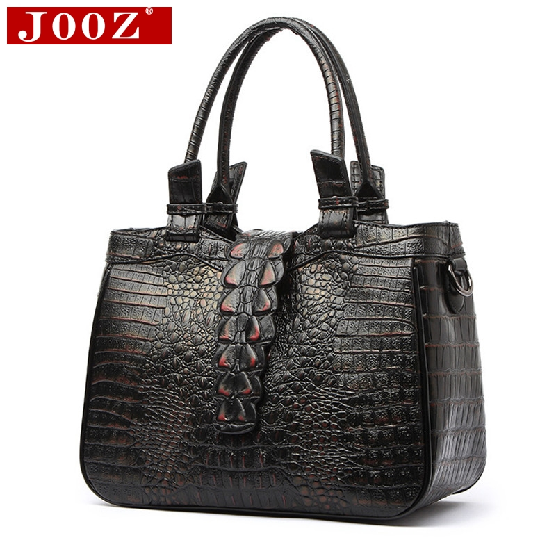 JOOZ Fashion Brand Women handbags crocodile Vintage clutch bag Leather Ladies Genuine Leather bags For Women Totes Messenger Bag