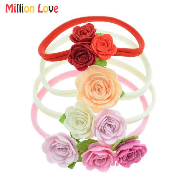 921280d4f59 2 Pieces lot Million Love Baby girl flowers Headbands newborn floral girls  headband headwear bandeau bebes hair accessories gift