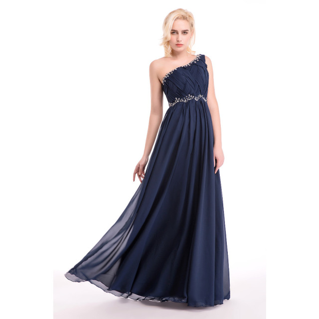 2e4d19ac8d07 One Shoulder Navy Blue Evening Dresses Chiffon Formal Party Dresses Beading  Pleated A Line Women Elegant Long Evening Gowns 2017