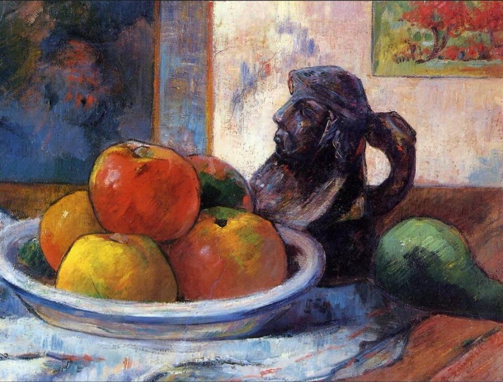 Reproductions de toile de peinture à l'huile de haute qualité nature morte avec des pommes, une poire et un Portra en céramique de Paul Gauguin peint à la main