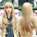 Long Wavy Blonde Wig Cosplay Women Cosplay Costume Sexy Party  Side Parting Full Bangs Perucas Long Wavy Blonde Wig