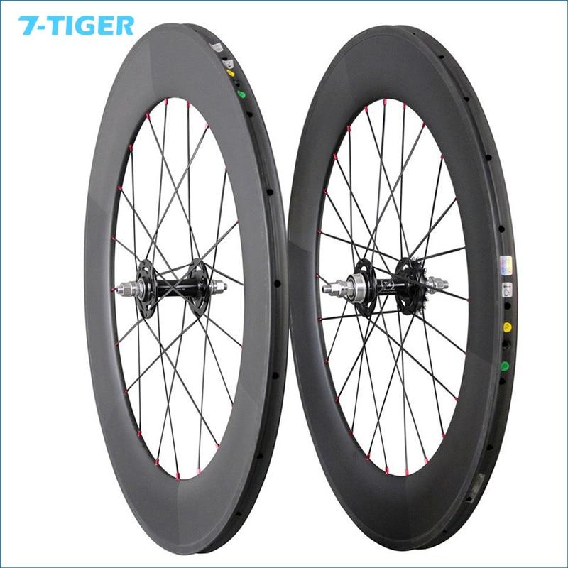 Roues de bicyclette de voie de carbone de 7-TIGER jantes tubulaires de 88mm roues à une vitesse de Fiber de carbone