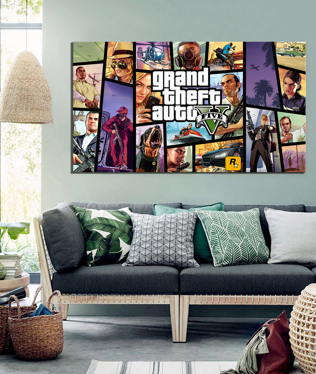 1 Piece HD Cartoon Picture Grand Theft Auto V Video Game Poster Painting GTA 5 Games Art Print Canvas Paintings Wall Art 2