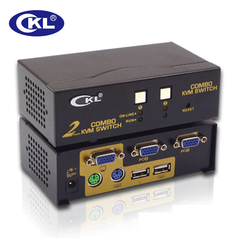 CKL 2 Port USB PS/2 VGA KVM Switch 2 in 1 out Switcher for Keyboard Video Mouse CKL-82UP