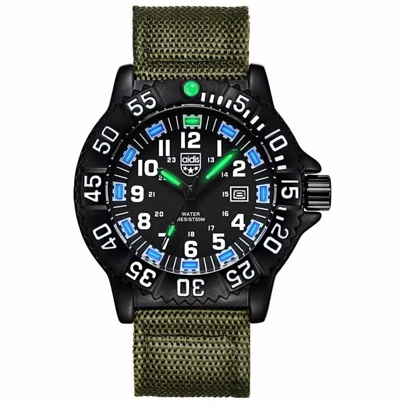 Nylon Watchband Fashion Casual Men s Noctilucent Quartz Wristwatch Waterproof Outdoor Sports Special font b Military