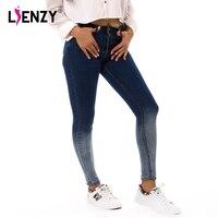 LIENZY 2017 Summer Autumn Gradient Pencil Women Jeans High Waist Two Button Slim Stretch Skinny Women