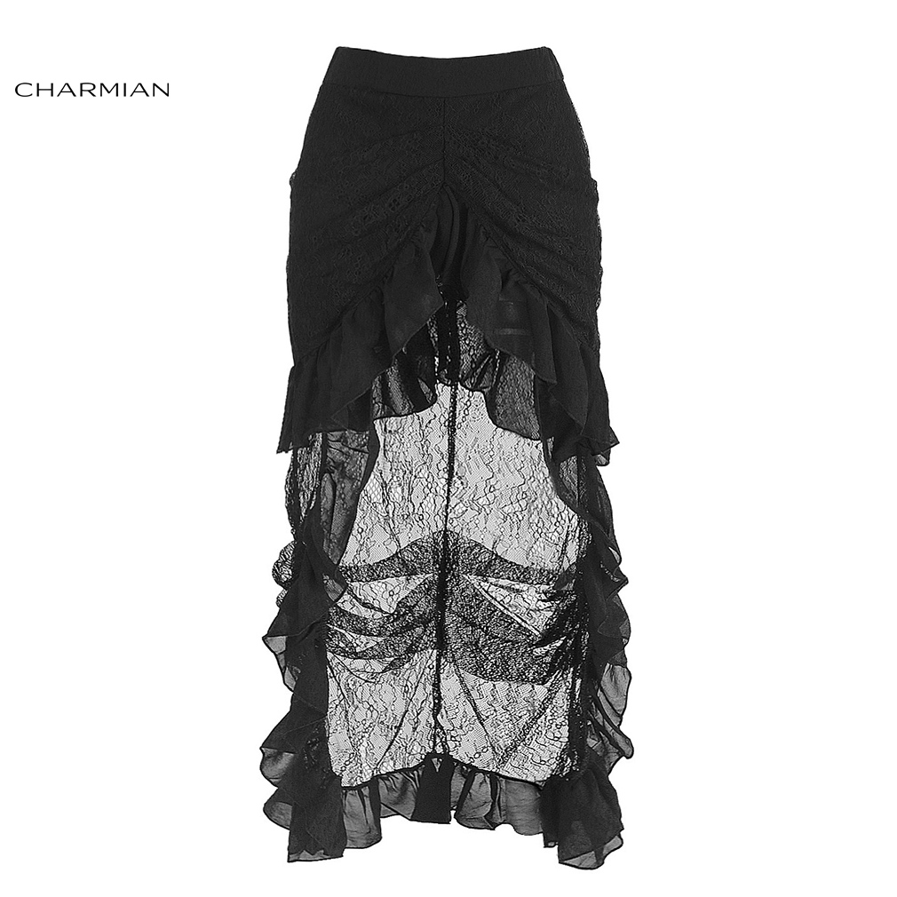 Charmian Women's Sexy Gothic Victorian Steampunk Skirt Vintage Black Floral Lace Ruffles High Low Maxi Skirt
